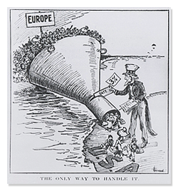 Political Cartoon Showing Uncle Sam Welcoming Immigrants Through a Funnel