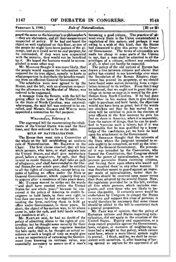 Page from US Naturalization Law of 1790 Debate