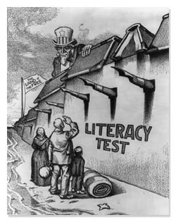 Political Cartoon Lampooning Literacy Test